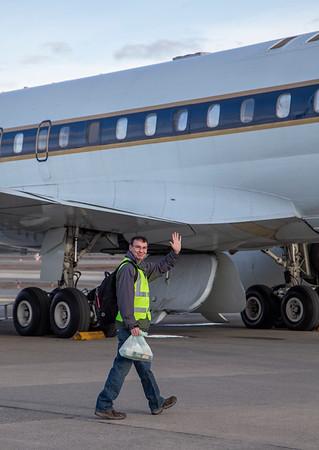 Matt boarding the DC-8 for today's flight