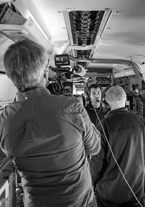CBS's Andy and Mark interview Joe mid-flight