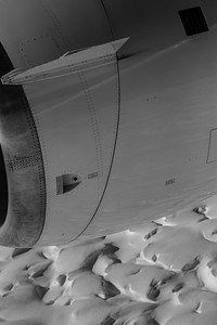 Crevasses reflect on the engine cowling