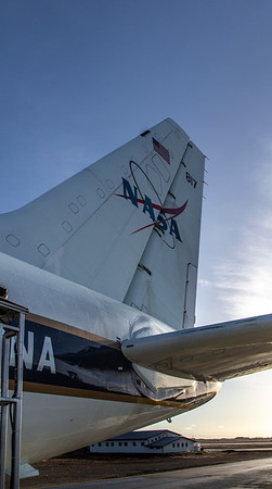 The NASA DC-8's tail during pre-flight