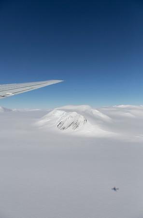 Flying down Lurabee Glacier