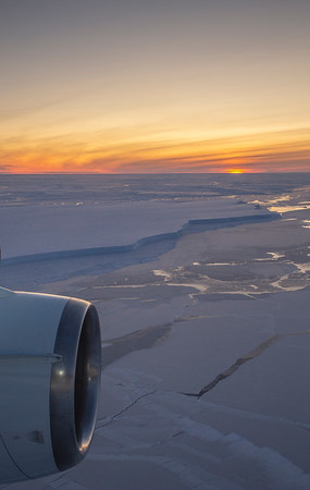 Twilight and the calving front of the Brunt Ice Shelf