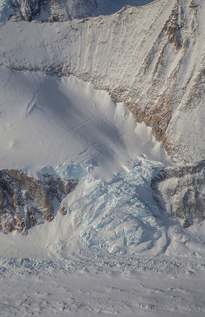 An icefall along the edge of Attlee Glacier