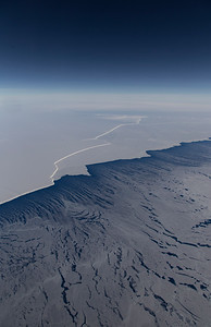 The edge of the Filchner Ice Shelf with sea ice streamers