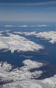 Flying over Tierra del Fuego full of unusually calm water