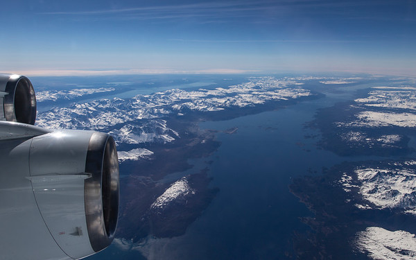 Flying over the Beagle Strait with Ushuaia in the distance
