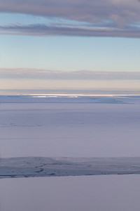 A break in the clouds gives us a view of the Brunt Ice Shelf