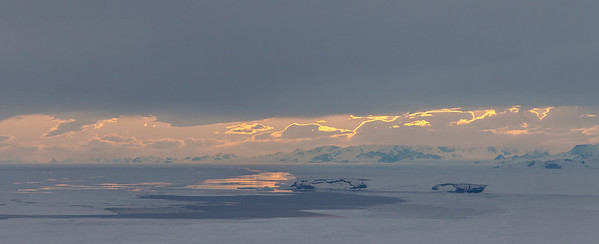 View of the setting sun as we reach the Antarctic Peninsula at the end of the line