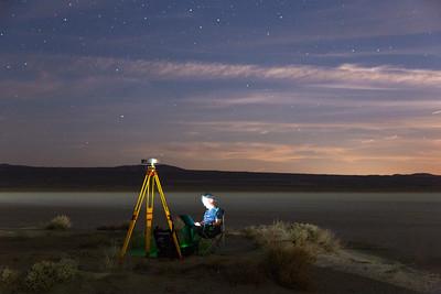 John checking the GPS base station data pre-moonrise