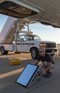 Kyle aligning the ATM mirror for ground calibrations