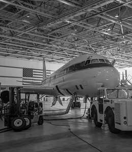 The NASA DC-8 in it's parking spot in Armstrong building 703