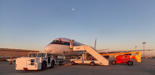 NASA's DC-8, out on the Palmdale ramp for some final preparations