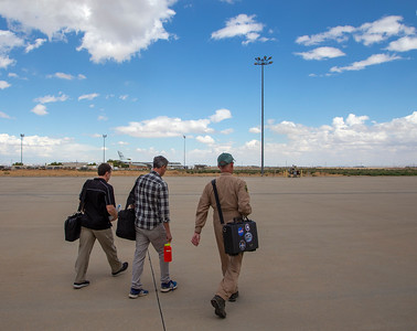 John and the gravity team walking out to test flight #2