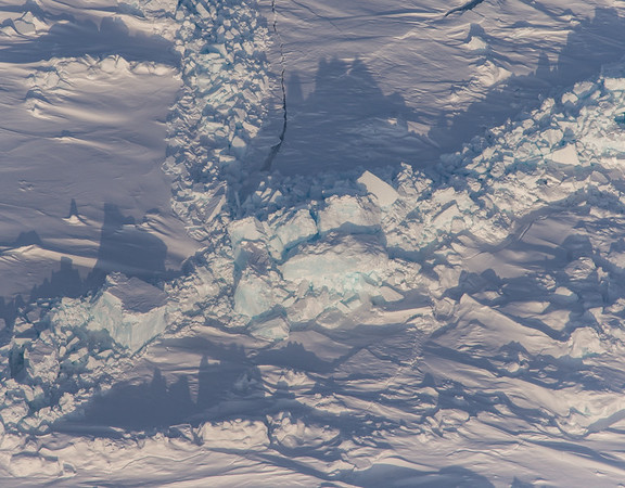 Large sea ice blocks pushed up in a pressure ridge