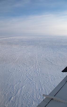 Similarly oriented sastrugi on ice in the Fram Strait