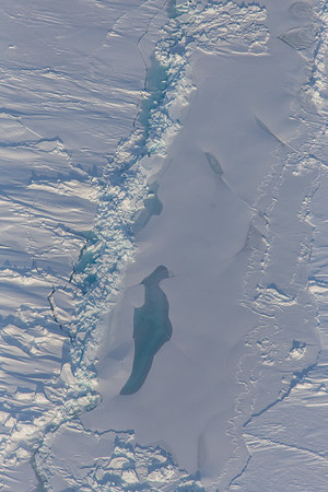 Flooded ice around an ice ridge and cracks in deformed ice