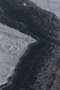 A sea ice lead with a thin ice cover