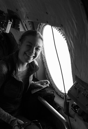 Emily enjoying all the sea ice from the rear bubble window!
