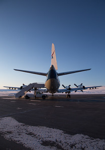 The NASA P-3 on the ramp, preparing for today's science flight
