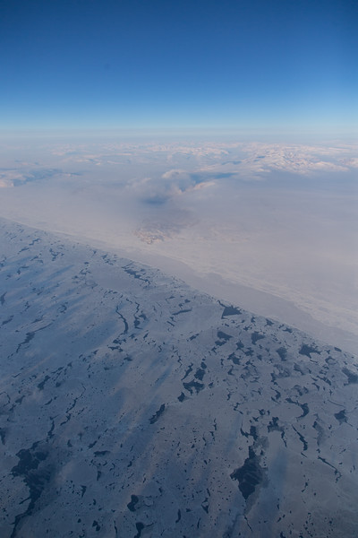 Thin sea ice along the coast of Ellesmere Island on our transit NW