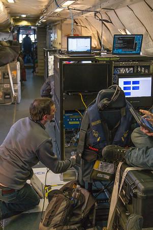 Matt adjusting the ATM wide-scan mid-flight