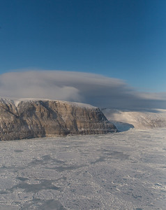 The western edge of Petermann Glacier and sea ice