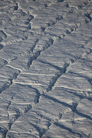 Cracks in upper Petermann Glacier