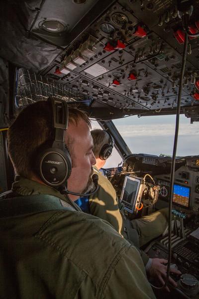 Brian in the cockpit over Humboldt Glacier
