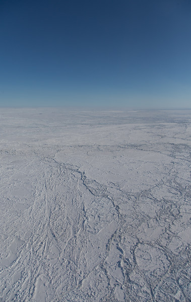Large sea ice floes amongst heavily ridged sea ice