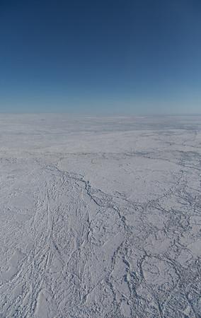 Large sea ice floes amongst heavily ridged sea ice