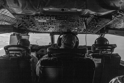 View from the cockpit over sea ice