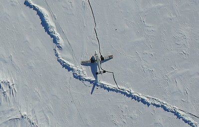 Here's a close-up DMS shot of the twin otter that's stranded there on the ice