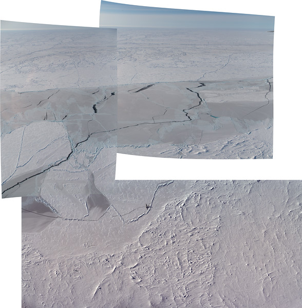Overflight of the ICEX ice camp. The bottom photos are CAMBOT imagery, the top two are my oblique shots.