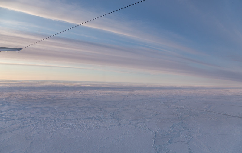 Snow-covered pack ice north of Greenland