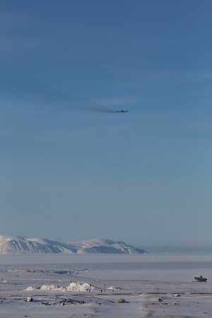 The P-3 just after takeoff, over a frozen North Star Bay