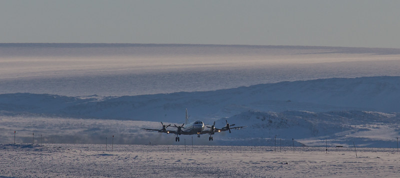 The P-3 just after takeoff through a thick inversion layer
