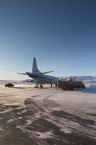 The P-3 prepping for flight on the Thule ramp