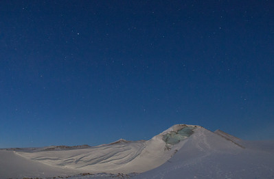 View of the broken ramp up the ice sheet at night