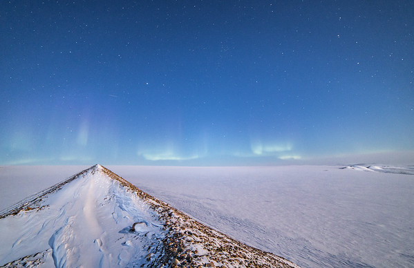 The northern lights from the ice sheet ramp