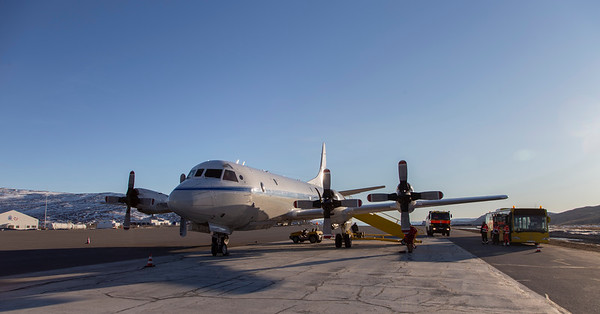 The NASA P-3 in Kangerlussuaq, on a divert from Thule due to bad weather