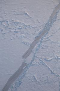 Nilas covered sea ice lead among ridged first-year and multi-year sea ice