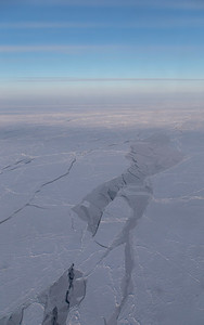 Refrozen sea ice leads and ice floes