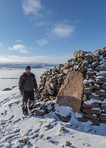 Kyle at the large cairn on top of Dundas