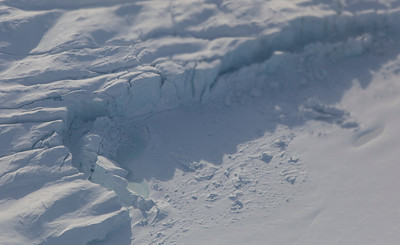 Close-up of the calving front of d'Ilberville Glacier