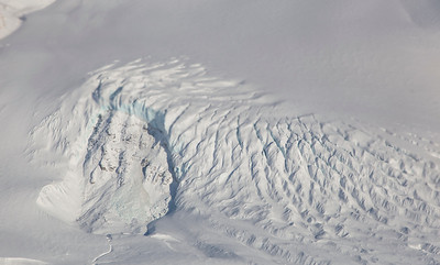 Topographically caused crevasses along a tributary of Eugenie Glacier