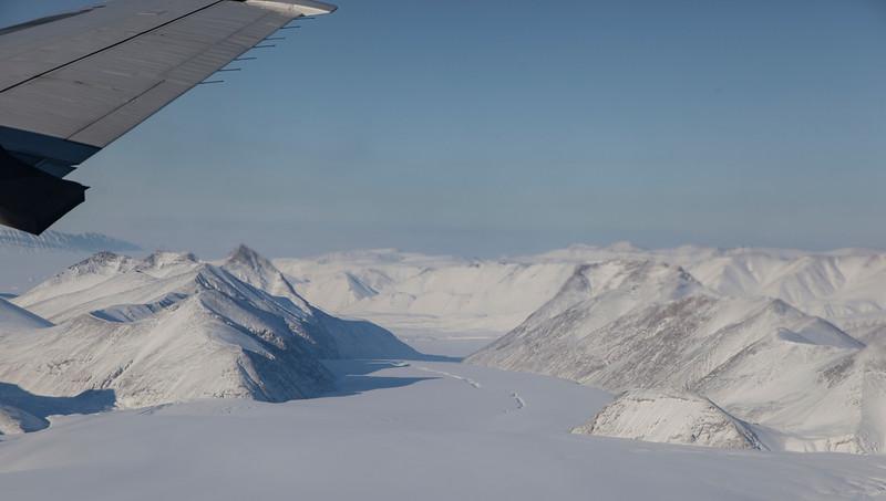 Looking down a glacier on western Agassiz Icecap