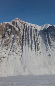 Vertical ridges in the western cliffs along lower John Richardson Glacier