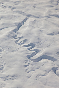 A sinuous frozen meltwater channel on lower Dobbin Glacier
