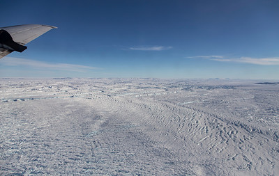 Crevasses and icebergs at the calving front of Zachariae Isstrom