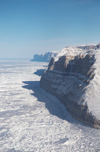 Looking down the western cliffs of Petermann Glacier